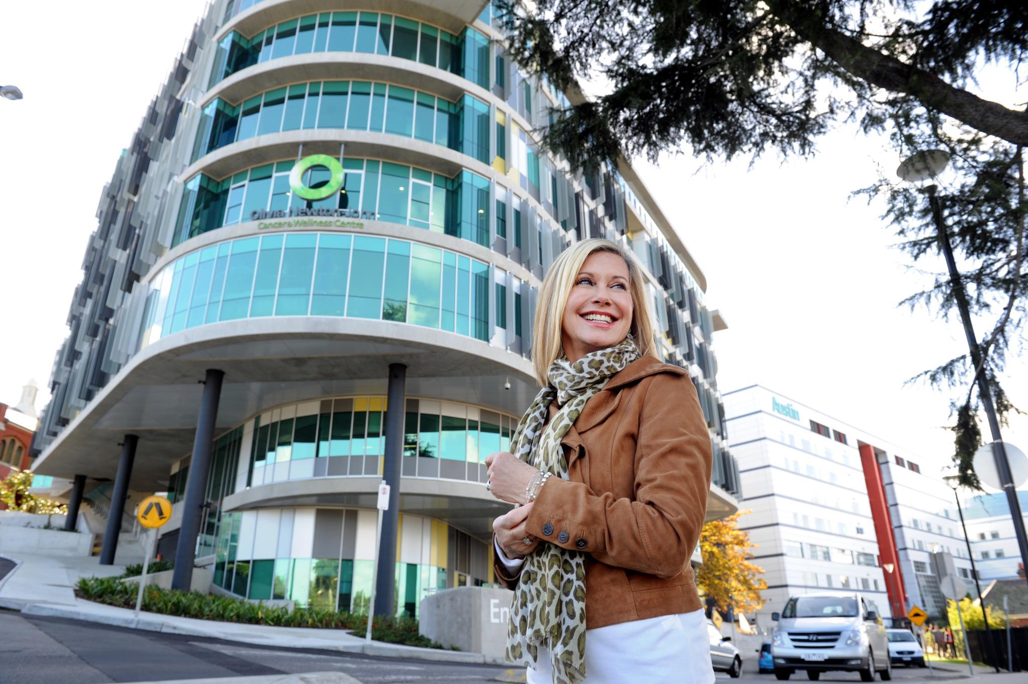 Olivia Newton-John Outside Cancer Center